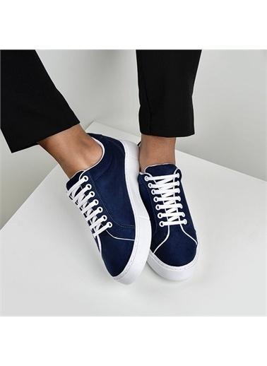 OKHU SHOES Kadın Süet Bağcıklı Günlük Sneaker Spor Ayakkabı Lacivert